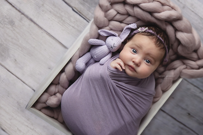 Newborn in purple wrap with knitted bunny | Mindy Arnholt Spokane Photographer