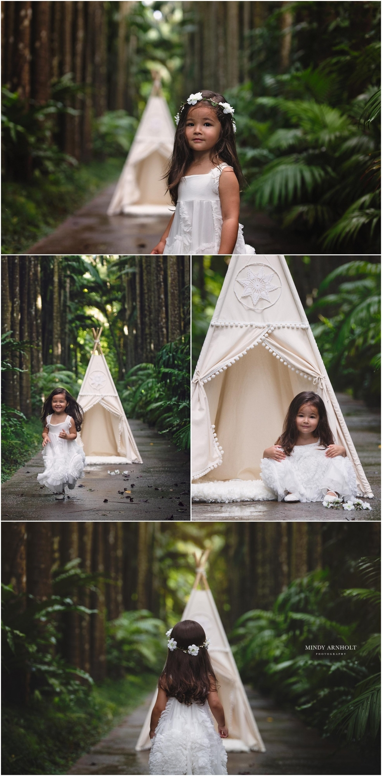 "Teepee session in a palm tree grove wearing ""Here She Glows Frock"" by Dollcake"